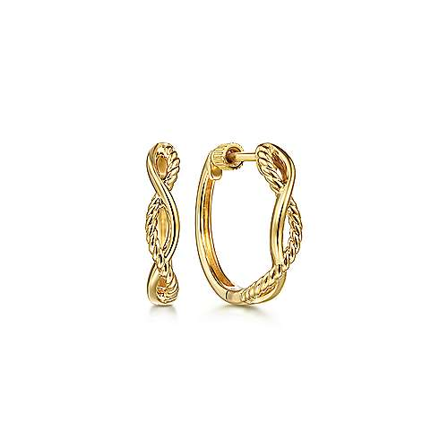 14K Yellow Gold Twisted Rope Huggies