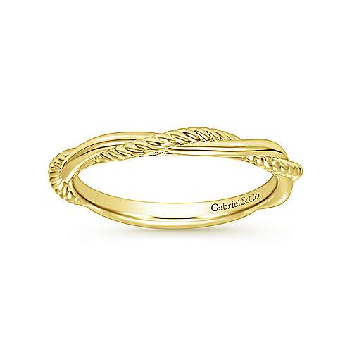 14K Yellow Gold Twisted Rope Intertwining Ring