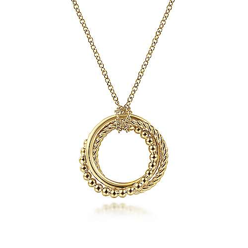 14K Yellow Gold Twisted Rope Multi Circle Pendant Necklace