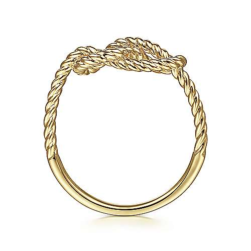14K Yellow Gold Twisted Rope Pretzel Ring