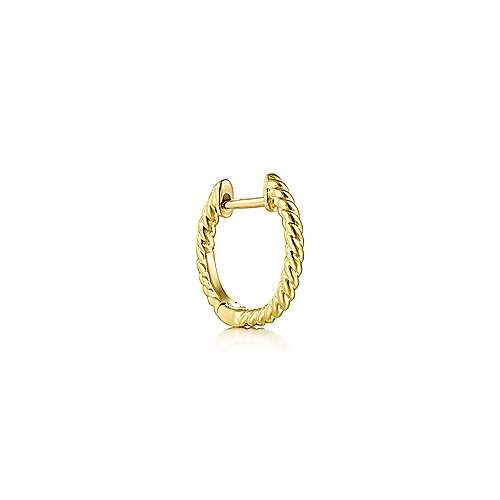 14K Yellow Gold Twisted Rope Single Left Huggie Earring