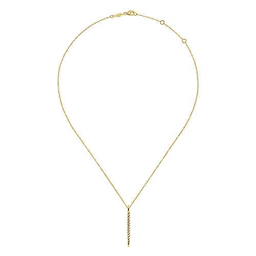 14K Yellow Gold Twisted Rope Spike Pendant Necklace