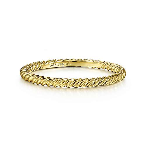14K Yellow Gold Twisted Rope Stackable Ring