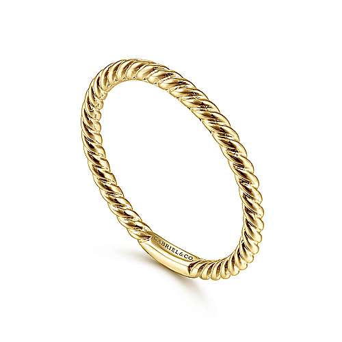 Rope Stackable Ring Band #14K Gold Plated over 925 Sterling Silver #Azaggi R0289G
