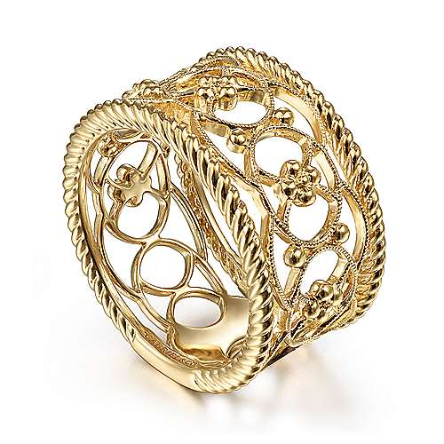 14K Yellow Gold Twisted Rope and Bujukan Bead Wide Band Ring