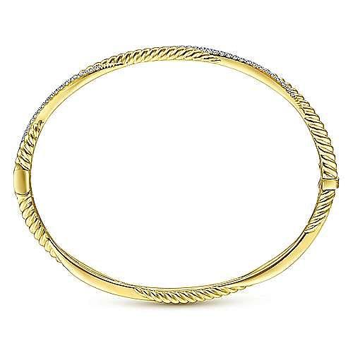 14K Yellow Gold Twisted Rope and Diamond Bangle