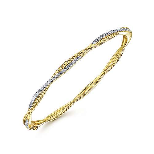 14K Yellow Gold Twisted Rope and Diamond Bangle