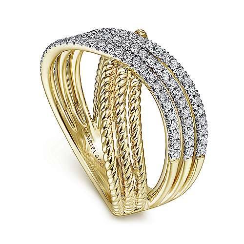14K Yellow Gold Twisted Rope and Diamond Criss Cross Ring