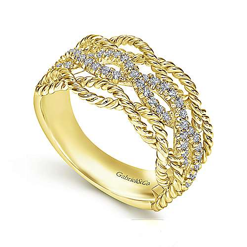 14K Yellow Gold Twisted Rope and Diamond Ring