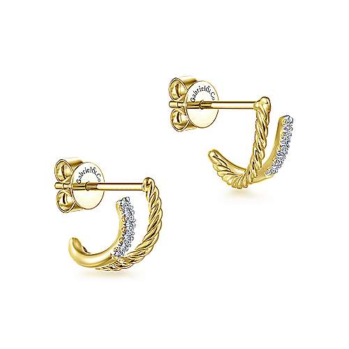 14K Yellow Gold Twisted Rope and Diamond Stud Earrings