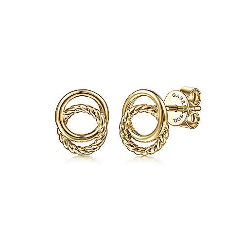 14K Yellow Gold Twisted Rope and Plain Circles Stud Earrings