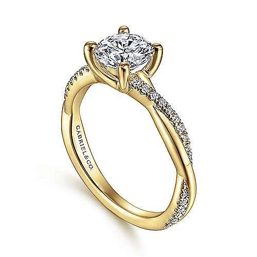 14K Yellow Gold Twisted Round Diamond Engagement Ring