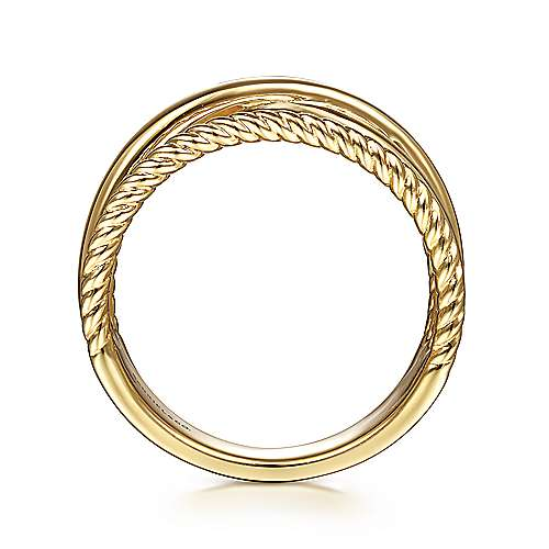 14K Yellow Gold Twisted and Plain Criss Cross Ring