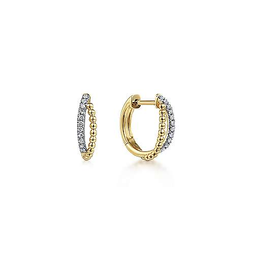 14K Yellow Gold Twisted pave 10mm Diamond Huggie Earrings