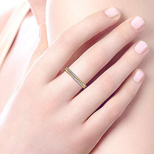 14K Yellow Gold Two Row Beaded Diamond Stackable Ring