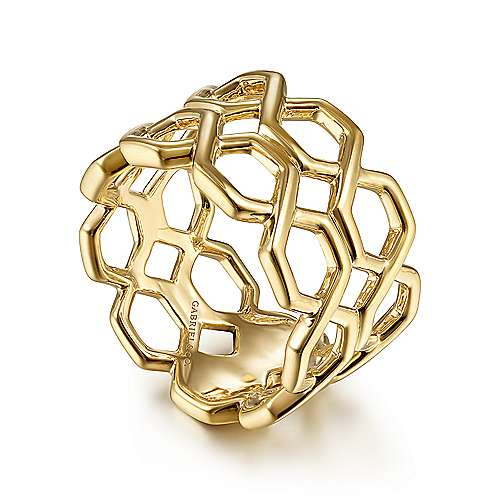 14K Yellow Gold Two Row Twisted Band Ring