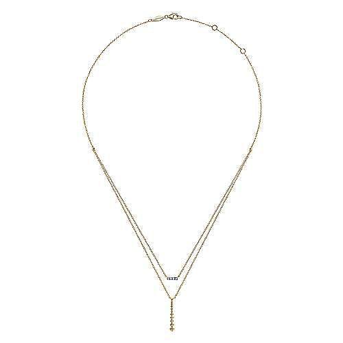 14K Yellow Gold Two Strand Diamond Bar and Bujukan Beaded Pendant Necklace