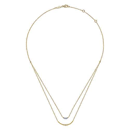 14K Yellow Gold Two Strand Diamond Crescent and Bujukan Beaded Necklace