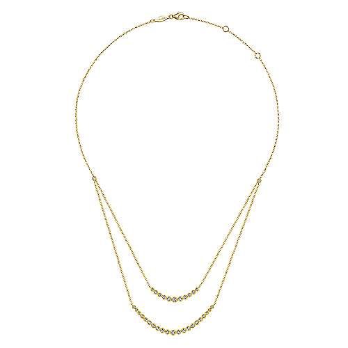 14K Yellow Gold Two Strand Necklace with Millgrain Bezel Set Diamonds