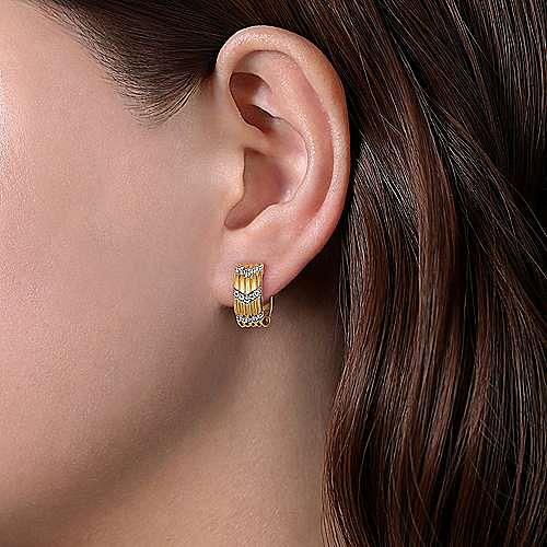 14K Yellow Gold Wide 15mm Chevron Diamond Station Huggie Earrings