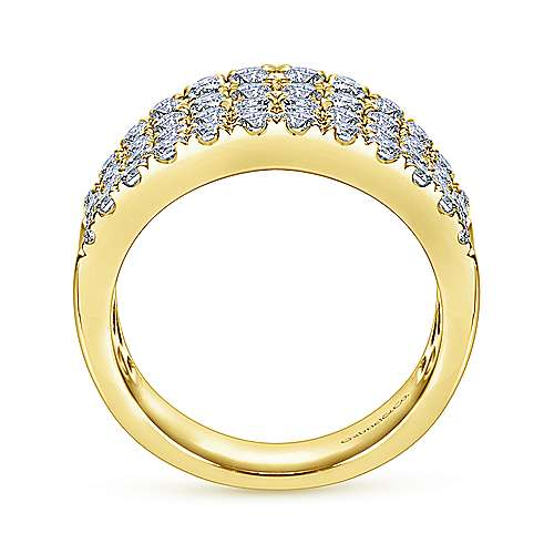 14K Yellow Gold Wide Band Curved Diamond Ring