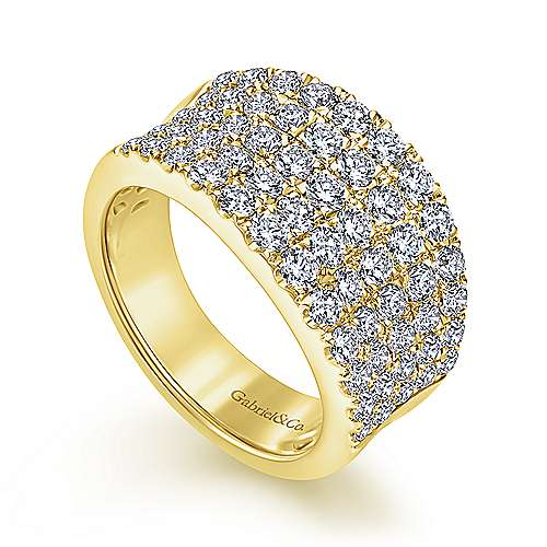 14K Yellow Gold Wide Band Pavé Diamond Ring