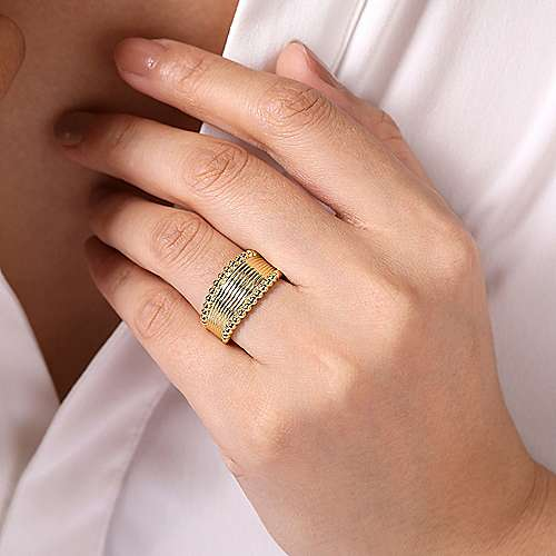 14K Yellow Gold Wide Band Ring with Bujukan Bead Frame