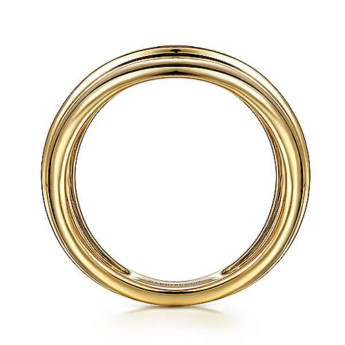 14K Yellow Gold Wide Band Ring with Textured Center Rows