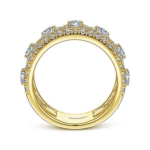 14K Yellow Gold Wide Diamond Anniversary Band