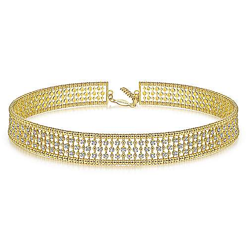 14K Yellow Gold Wide Diamond Station Choker Necklace with Bujukan Beads