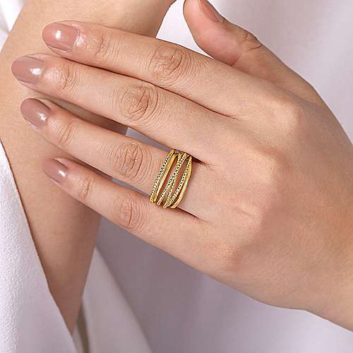 14K Yellow Gold Wide Intersecting Twisted Rope Ring
