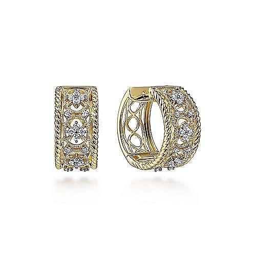 14K Yellow Gold Wide Twisted 15mm Intricate Diamond Huggie Earrings