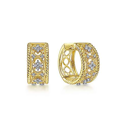 14K Yellow Gold Wide Twisted 15mm Intricate Diamond Huggies