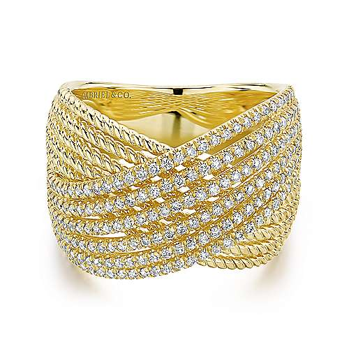 14K Yellow Gold Wide Twisted Rope and Diamond Channel Criss Cross Ring