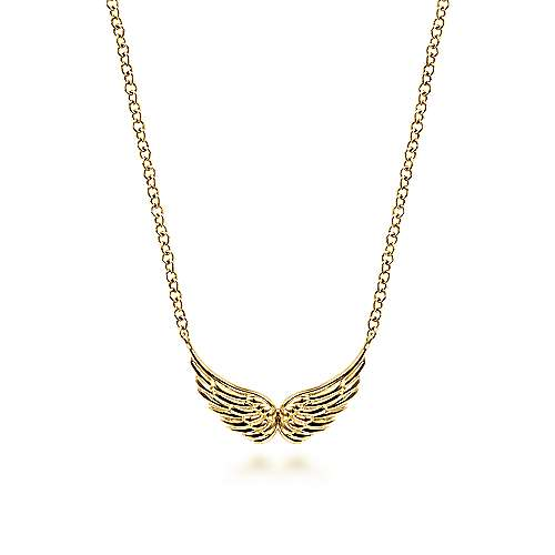 14K Yellow Gold Wings Necklace