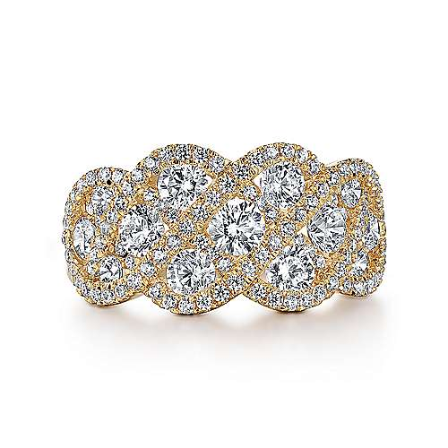14K Yellow Gold Woven Diamond Statement Ring