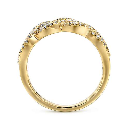14K Yellow Gold Woven Diamond Statement Ring