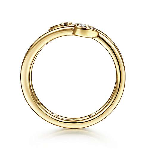 14K Yellow Gold Wrap Ring with Cluster Diamond Teardrop Tips