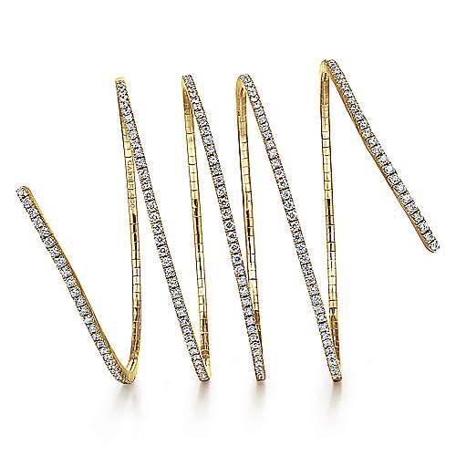 14K Yellow Gold Wraparound Diamond Bangle