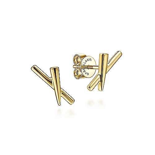 14K Yellow Gold X Shape Stud Earrings