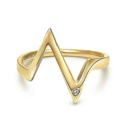 14K Yellow Gold Zig Zag Diamond Midi Ring