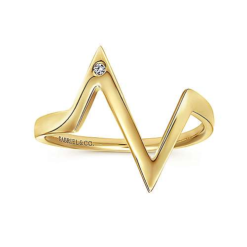14K Yellow Gold Zig Zag Midi Diamond Ring