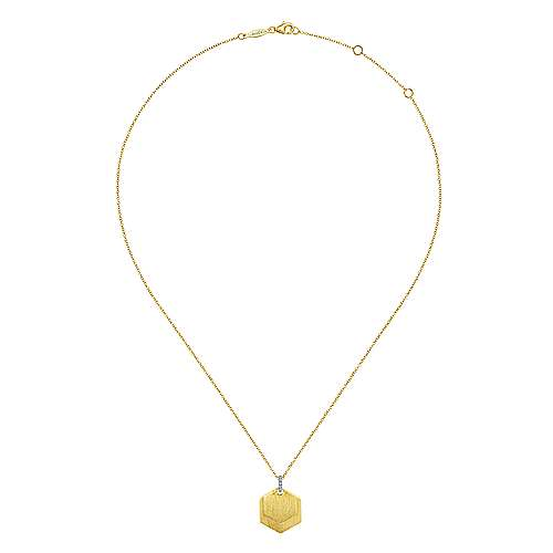 14K Yellow Gold and Diamond Double Tags Engravable Necklace