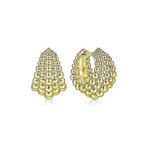 14K Yellow Plain Gold 15MM Huggie Earrings