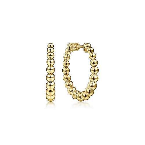 14K Yellow Plain Gold 20mm Beaded Round Hoop Earrings