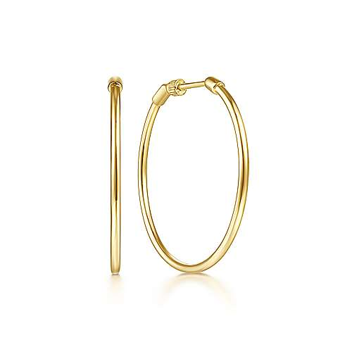 14K Yellow Plain Gold 30mm Round Classic Hoop Earrings