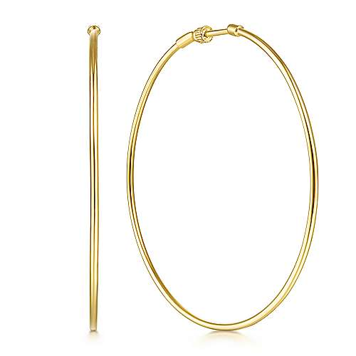14K Yellow Plain Gold 60mm Round Classic Hoop Earrings