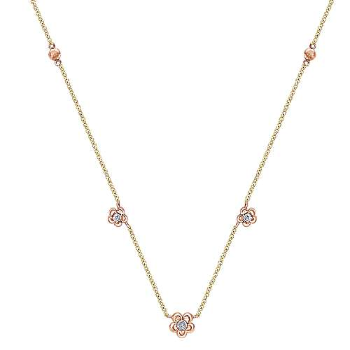 14K Yellow-Rose Gold Floral Diamond Station Necklace