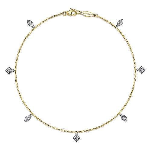 14K Yellow-White Gold  Fashion Ankle Bracelet
