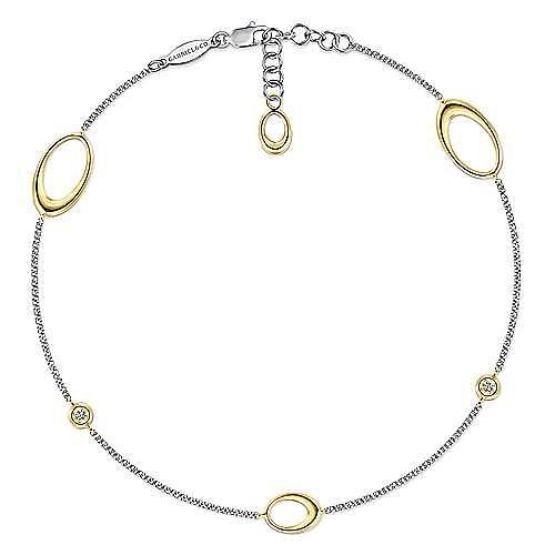 14K Yellow-White Gold  Fashion Ankle Bracelet